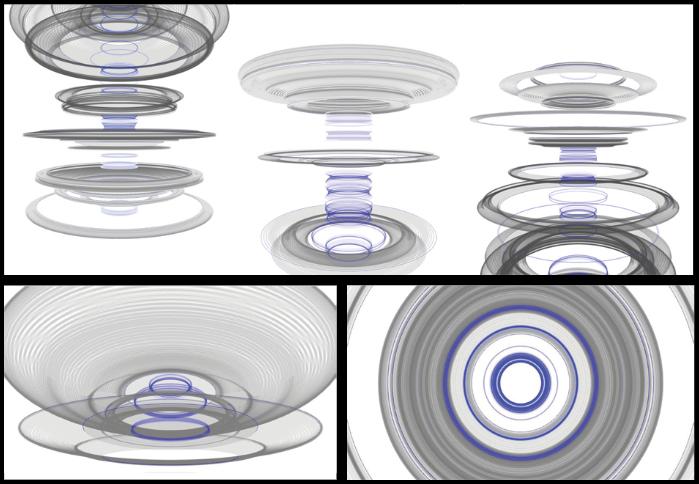 Orbitals (2009), Matt Pearson. Noise-metodin avulla muokattuja 3D ympyröitä.