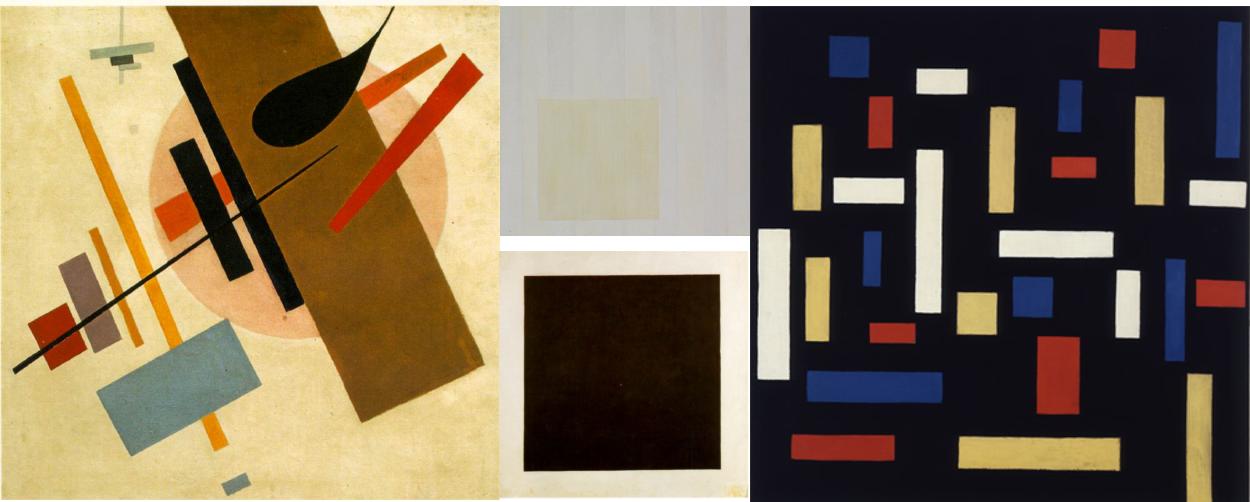 Kazimir Malevitš: Suprematismi (Supremus No. 58), 1916; Mino Argento: New York, 1973; Kazimir Malevitš: Black Square, 1915; Theo van Doesburg: Composition VII (the three graces), 1973