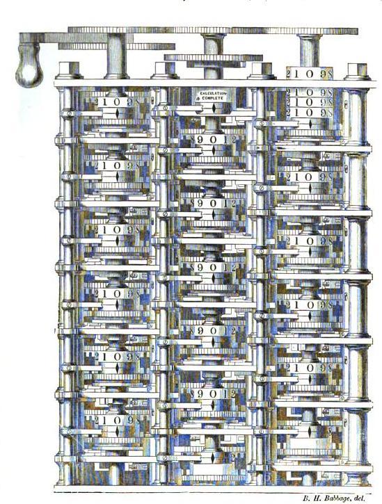 Babbagen ideoiman ja rakentaman laskentakoneen osa vuodelta 1833