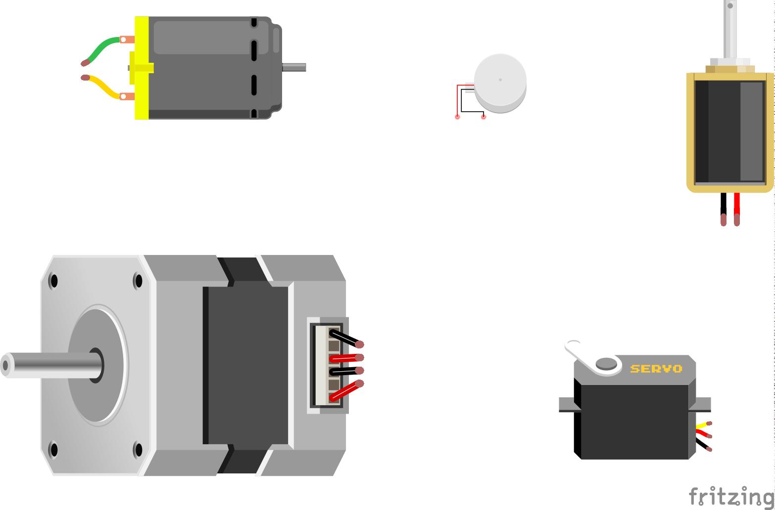 Moottoreita ylhäältä vasemmalta alkaen - DC-moottori, värinämoottori, solenoidi, askelmoottori ja servo.